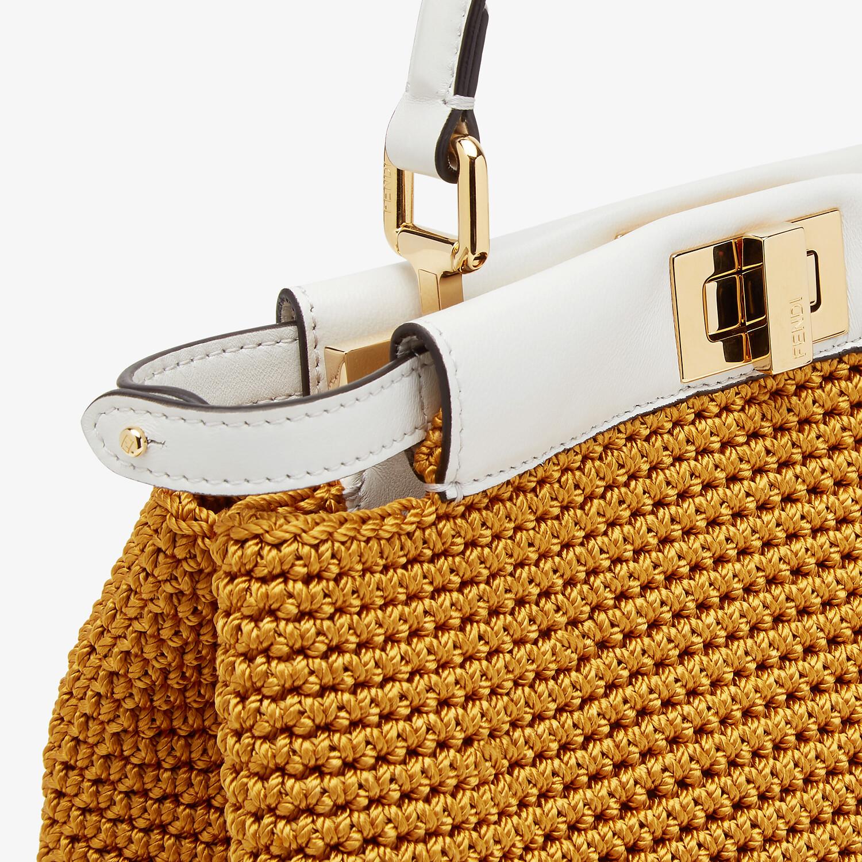 FENDI PEEKABOO MINI - Yellow cotton crochet bag - view 6 detail