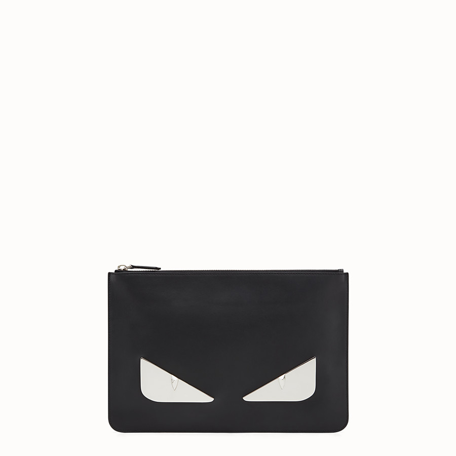FENDI POUCH - in black leather and metal - view 1 detail