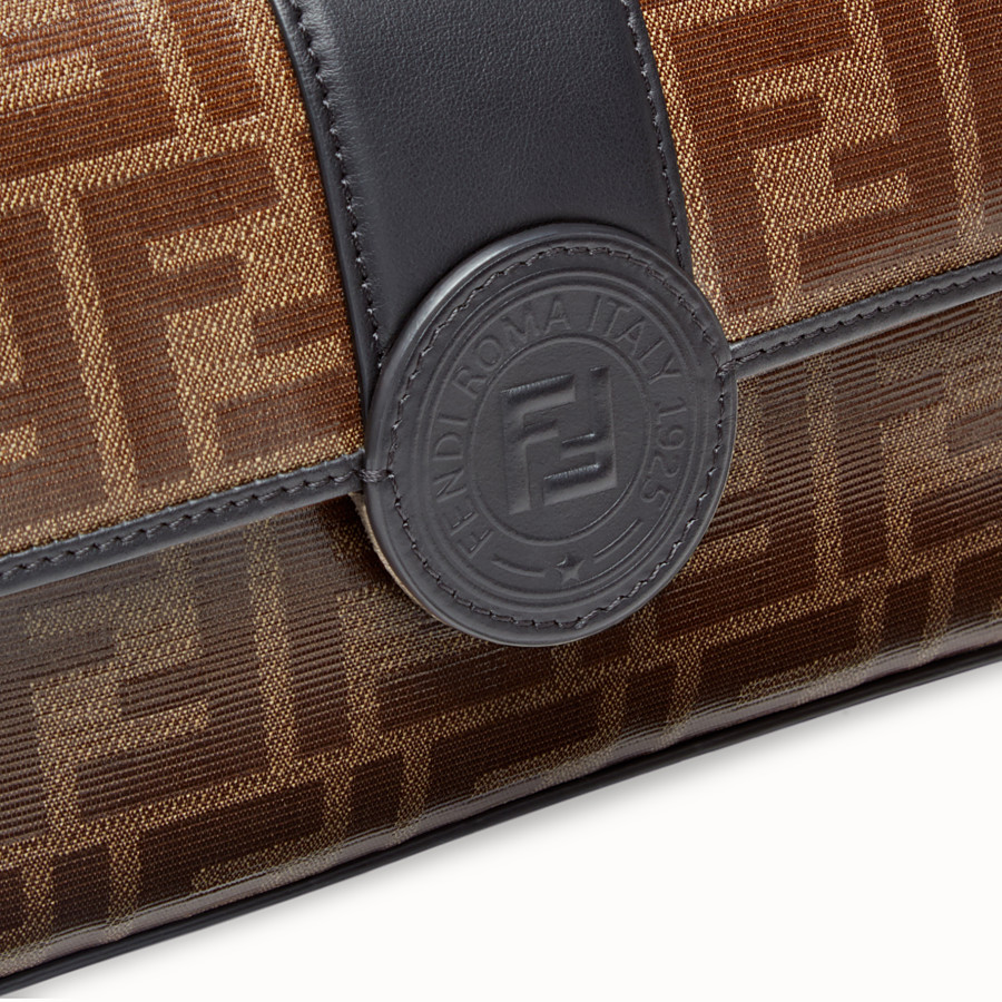 FENDI DOUBLE F SMALL - Brown leather and fabric bag - view 6 detail