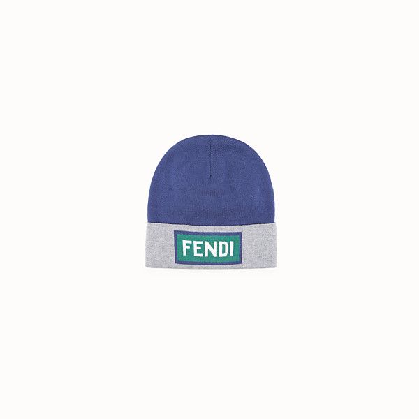 FENDI HAT - Blue and grey wool hat - view 1 small thumbnail
