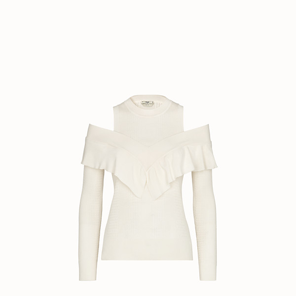 FENDI PULLOVER - White cashmere and wool jumper - view 1 small thumbnail
