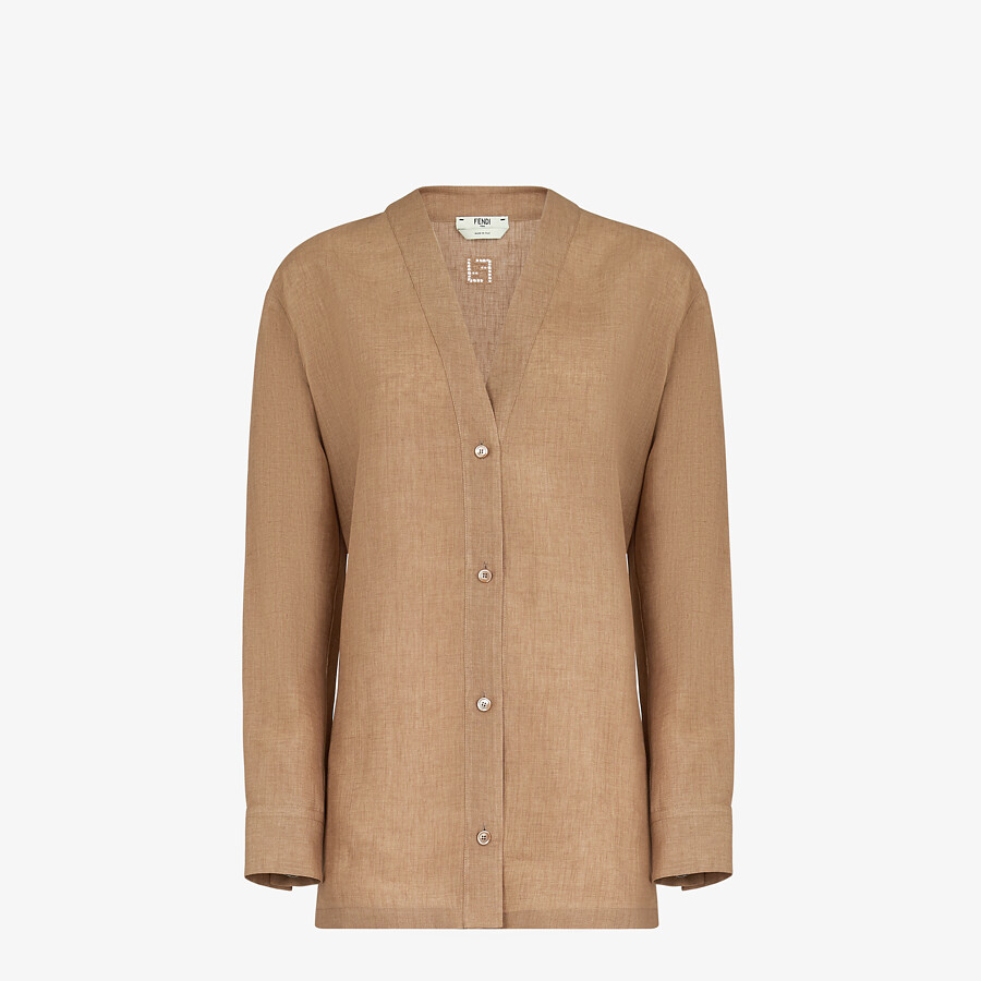 FENDI SHIRT - Beige linen shirt - view 1 detail