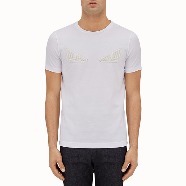 FENDI T-SHIRT - White cotton T-shirt with inlays - view 1 small thumbnail