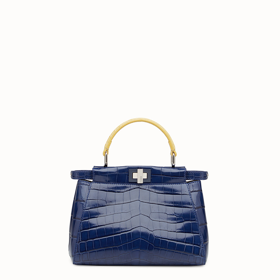 FENDI PEEKABOO MINI - Blue crocodile leather handbag. - view 1 detail