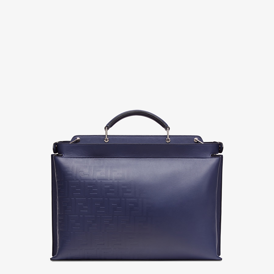 FENDI PEEKABOO ICONIC ESSENTIAL - Blue calf leather bag - view 3 detail