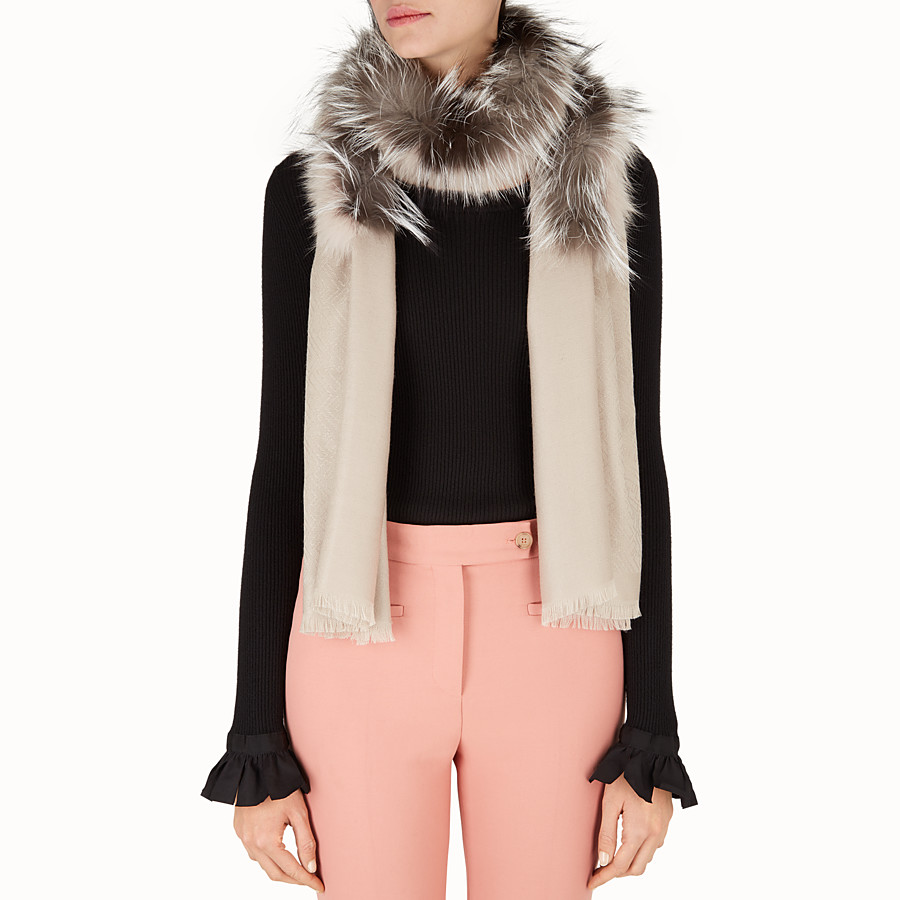 FENDI TOUCH OF FUR STOLE - in white silk and wool and fur - view 3 detail