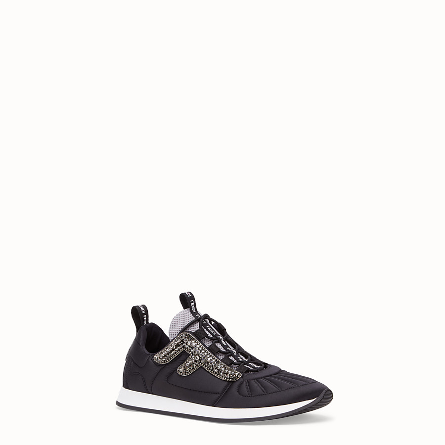 FENDI SNEAKERS - Black satin sneakers - view 2 detail