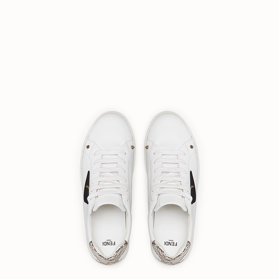 FENDI SNEAKERS - White leather sneakers with exotic details - view 4 detail