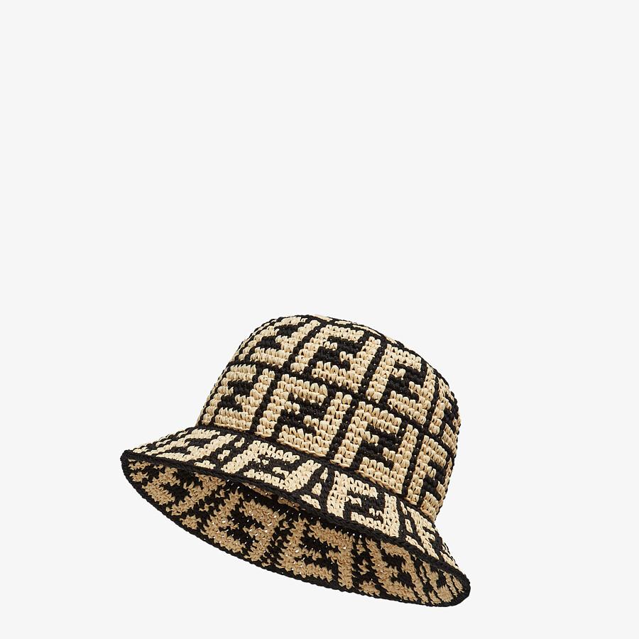 FENDI HAT - Beige raffia bucket hat - view 1 detail