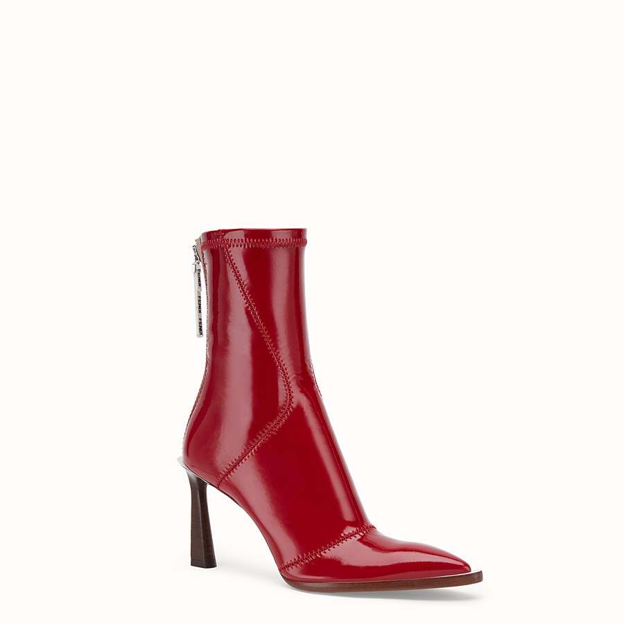 FENDI ANKLE BOOTS - Glossy red neoprene ankle boots - view 2 detail
