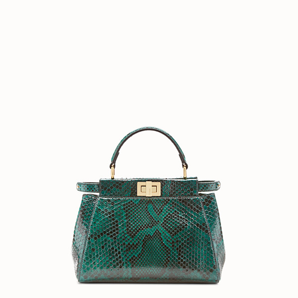FENDI PEEKABOO MINI - green python handbag - view 1 small thumbnail