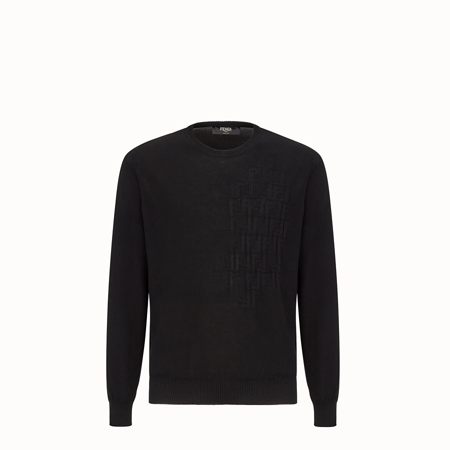 FENDI PULLOVER - Black cotton jumper - view 1 detail