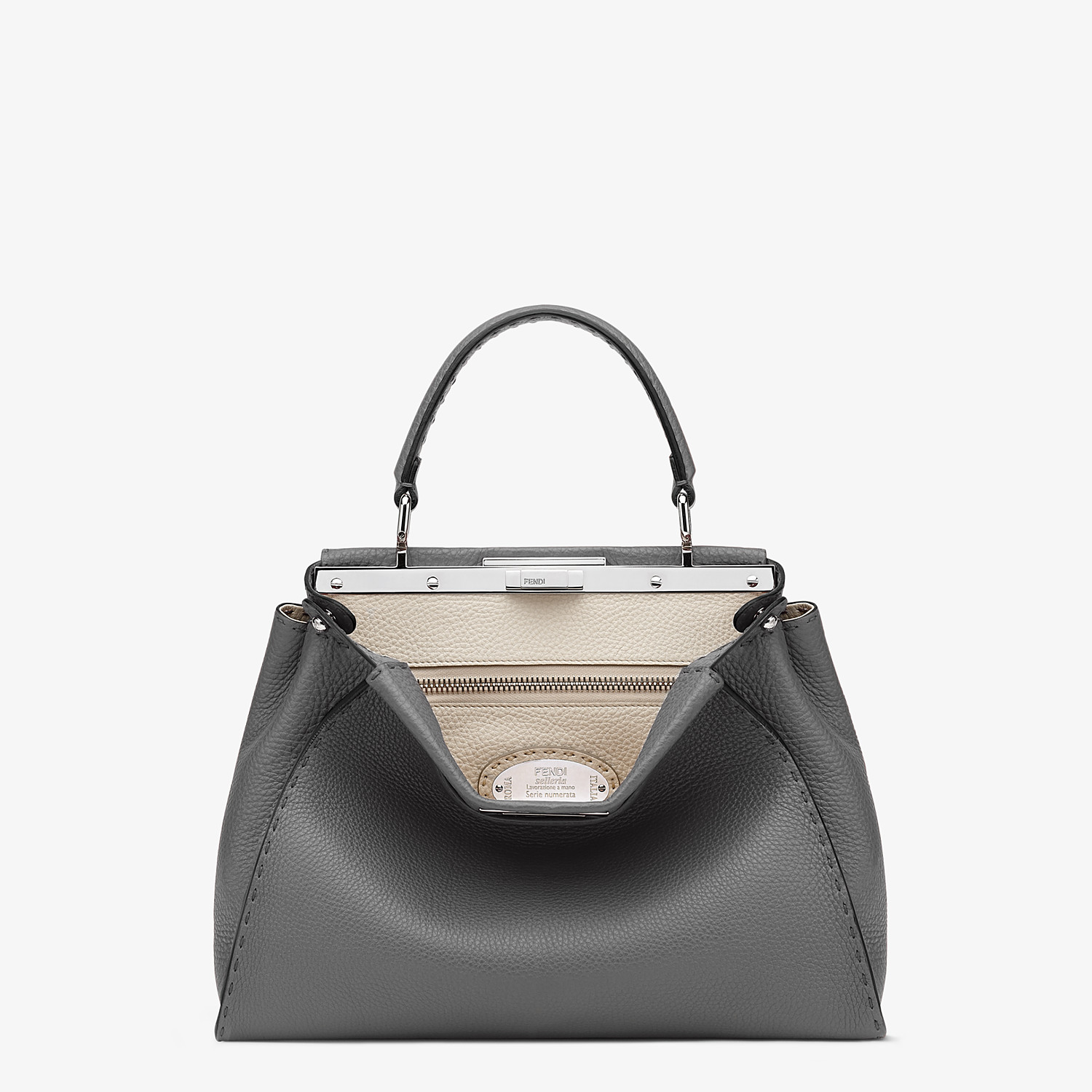 FENDI PEEKABOO ICONIC MEDIUM - Gray Cuoio Romano leather bag - view 1 detail