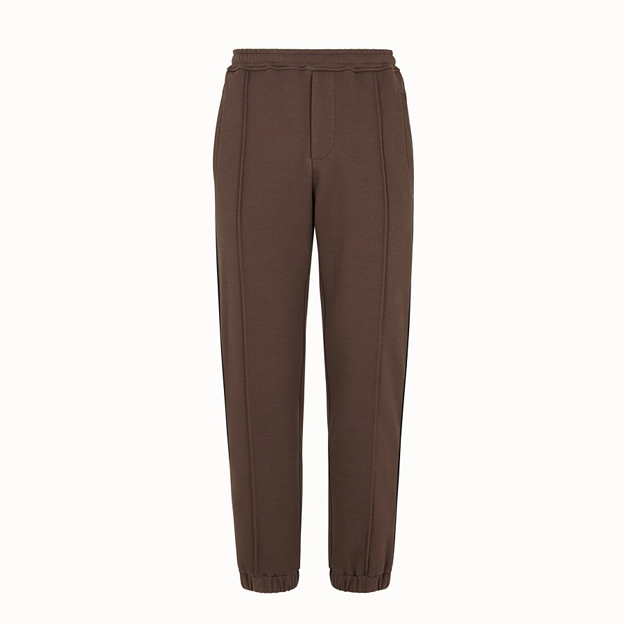FENDI TROUSERS - Brown cotton trousers - view 1 detail