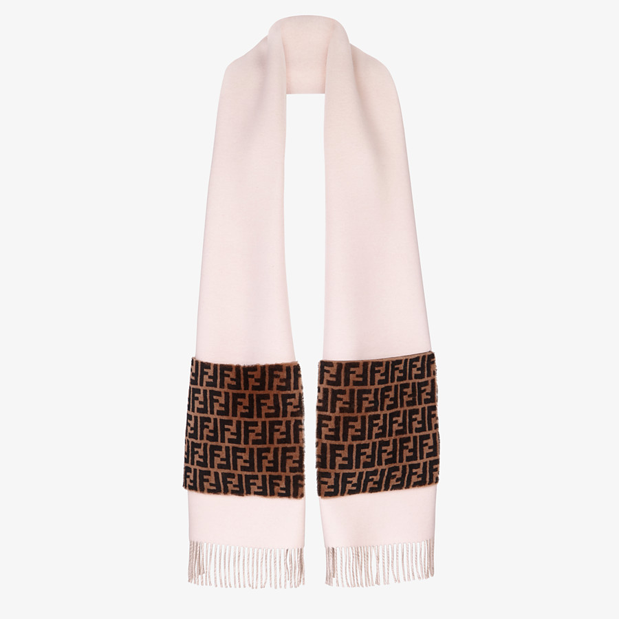 FENDI TOUCH OF FUR SCARF - Pink wool and cashmere scarf - view 2 detail