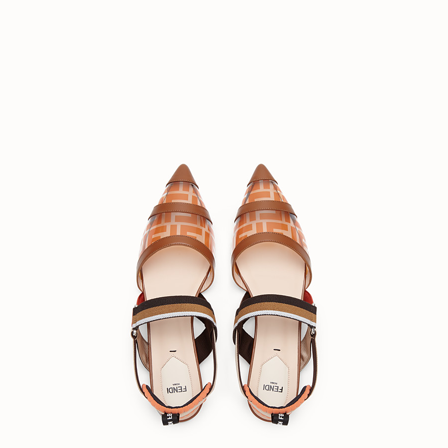 FENDI SABOTS - Flats in PU and orange leather - view 4 detail