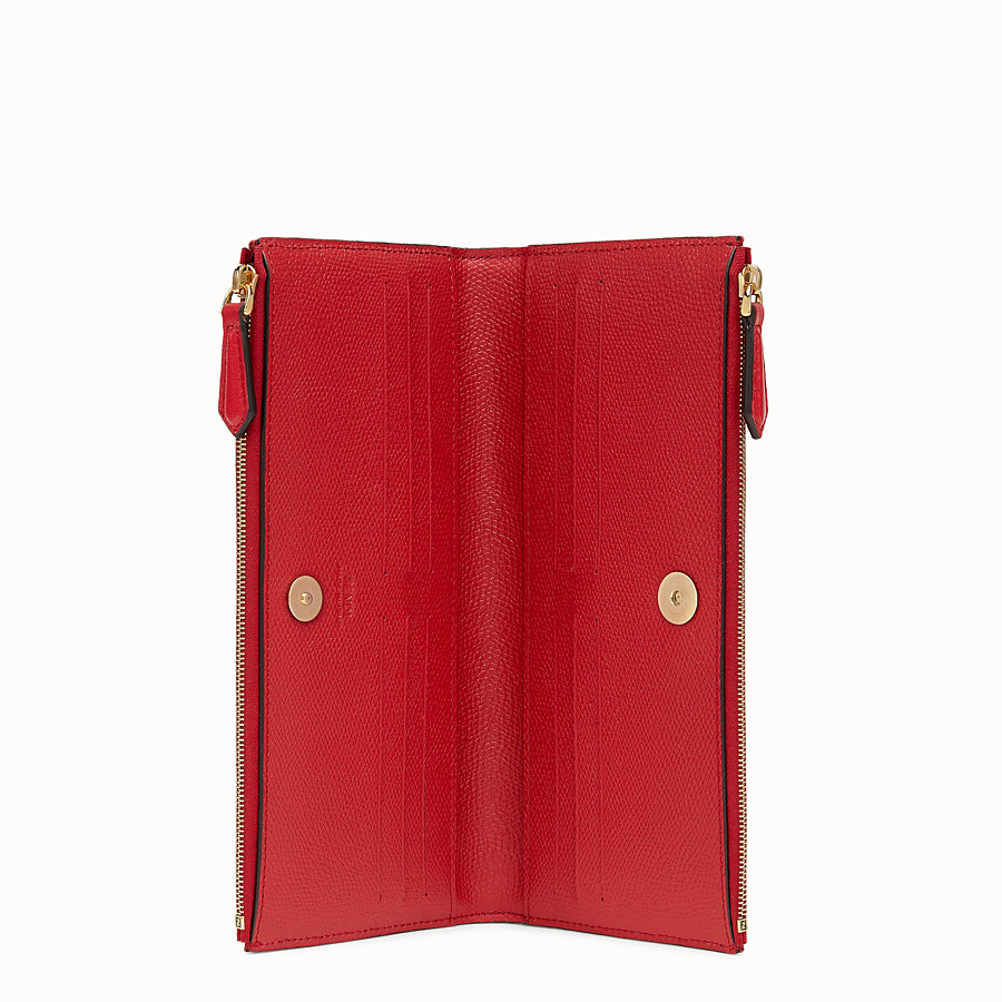 FENDI BIFOLD - Red leather wallet - view 3 detail