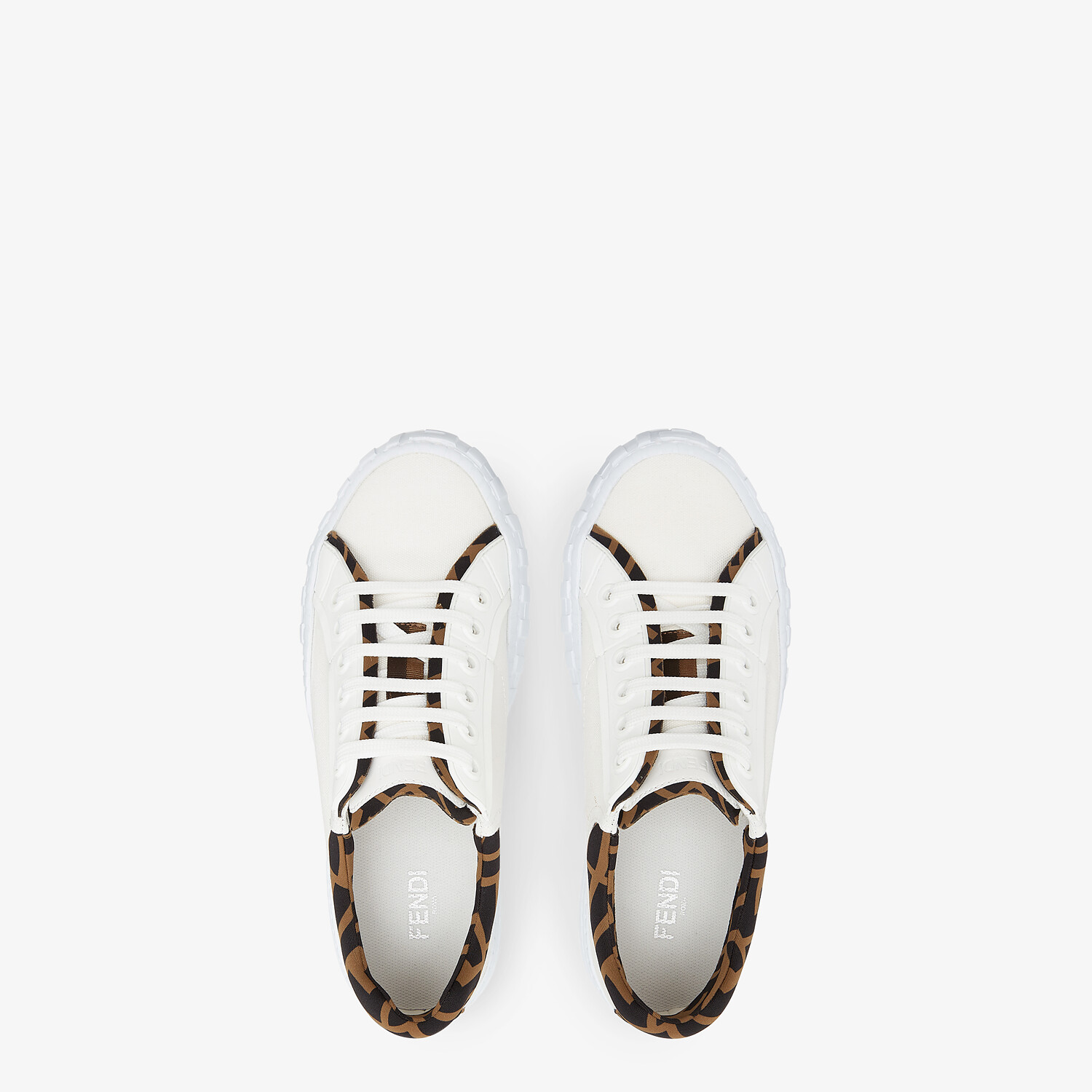 FENDI FENDI FORCE - White canvas and TPU low-tops - view 4 detail
