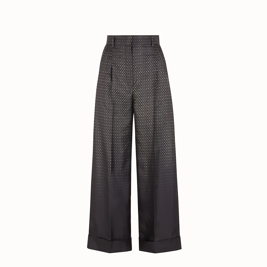 FENDI TROUSERS - Trousers in black twill - view 1 detail