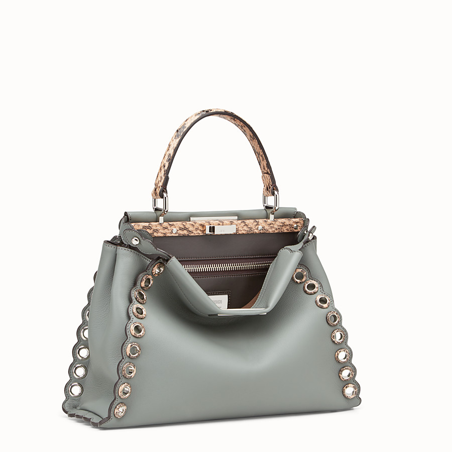 FENDI PEEKABOO REGULAR - Green leather bag with exotic details - view 2 detail