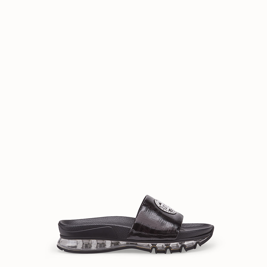 FENDI SANDALS - Black leather and PU slides - view 1 detail