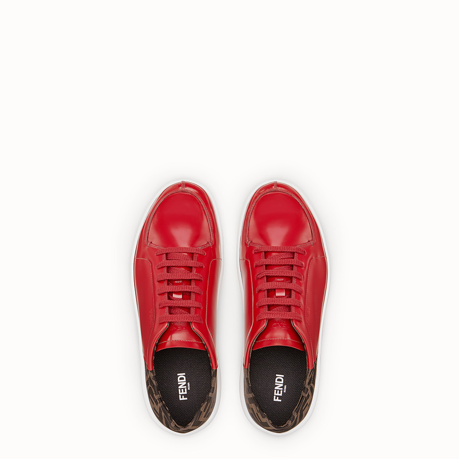 FENDI SNEAKERS - Red leather low-tops - view 4 detail
