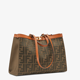 FENDI PEEKABOO X-TOTE - Green canvas bag - view 3 thumbnail