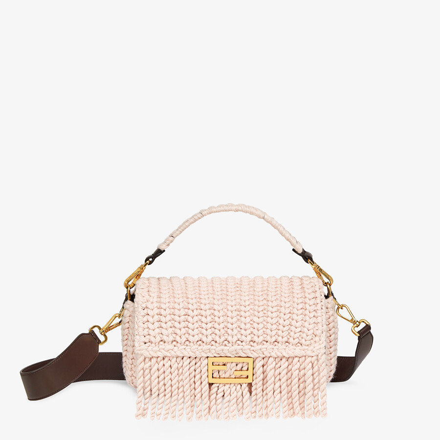 FENDI BAGUETTE - Pink wool bag with fringes - view 1 detail