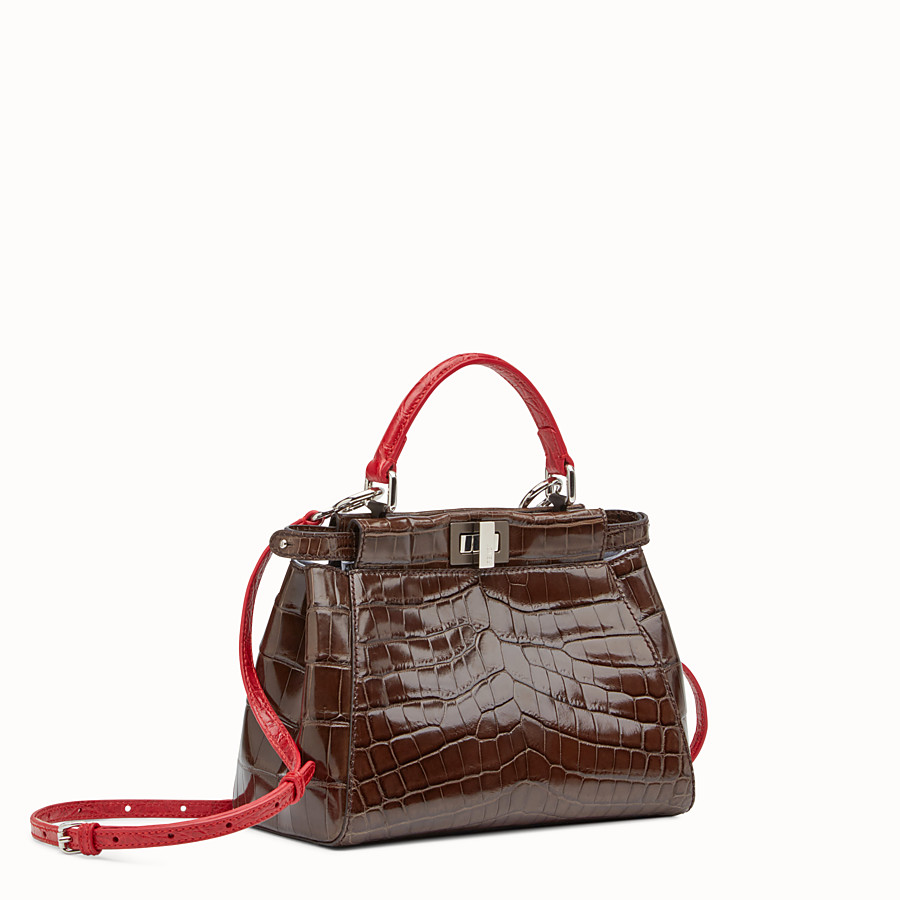 FENDI PEEKABOO MINI - Brown crocodile leather handbag. - view 2 detail