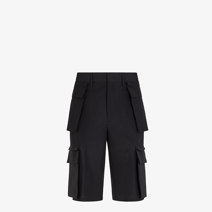 FENDI PANTS - Cotton and black nylon Bermudas - view 1 detail