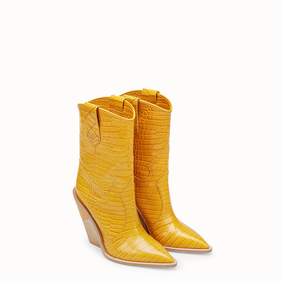FENDI BOOTS - Yellow crocodile-embossed ankle boots - view 4 detail