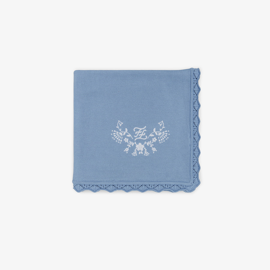 FENDI KNITTED BABY BLANKET - Cotton and cashmere blanket with embroidery - view 1 detail