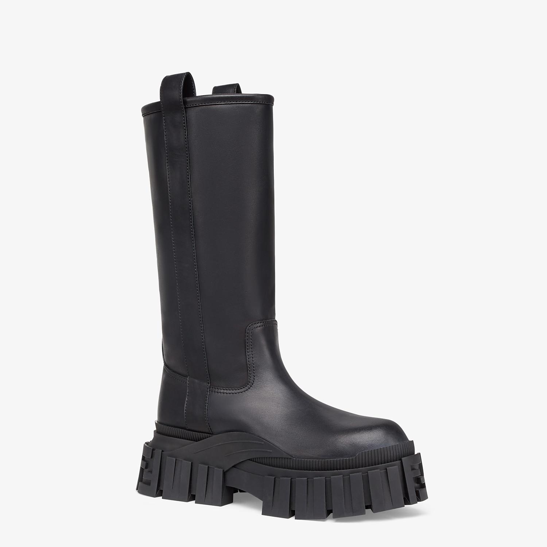 FENDI BOOTS - Black leather boots - view 2 detail