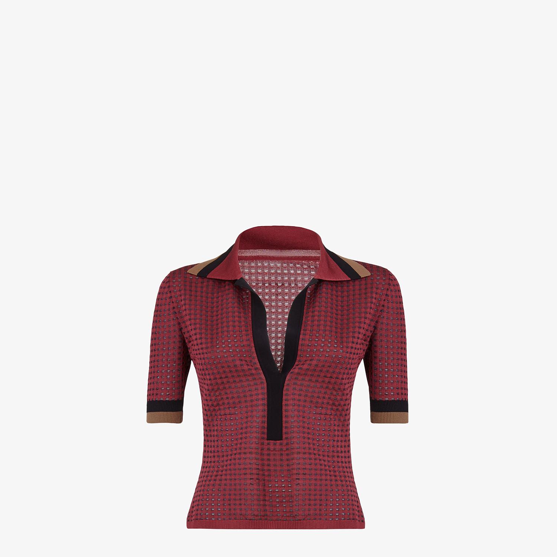 FENDI POLO SHIRT - Check silk polo shirt - view 1 detail