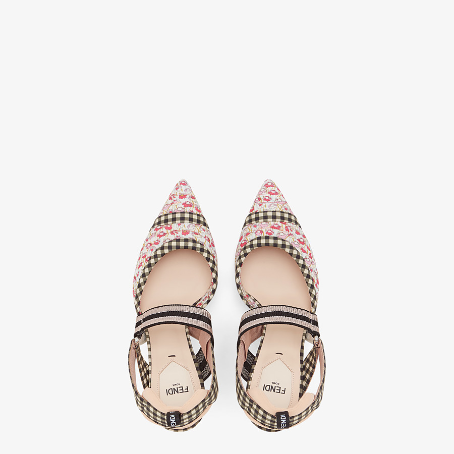 FENDI SLINGBACKS - Multicolor cotton Colibrì - view 4 detail