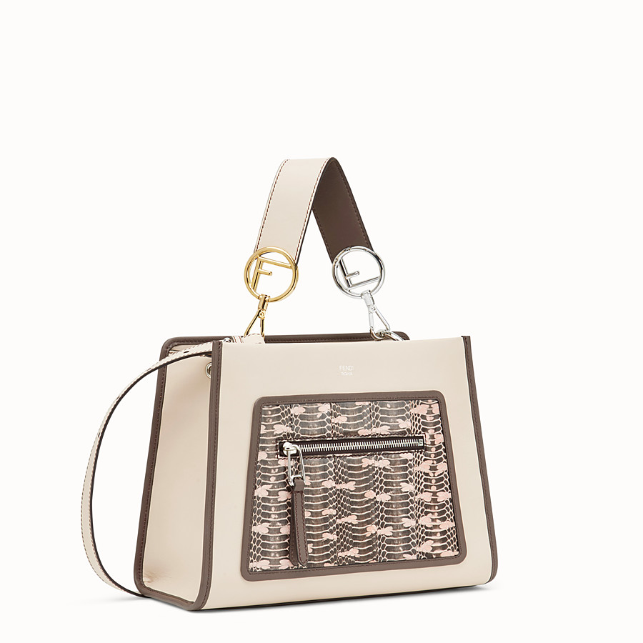 FENDI RUNAWAY SMALL - Pink leather bag with exotic details - view 2 detail