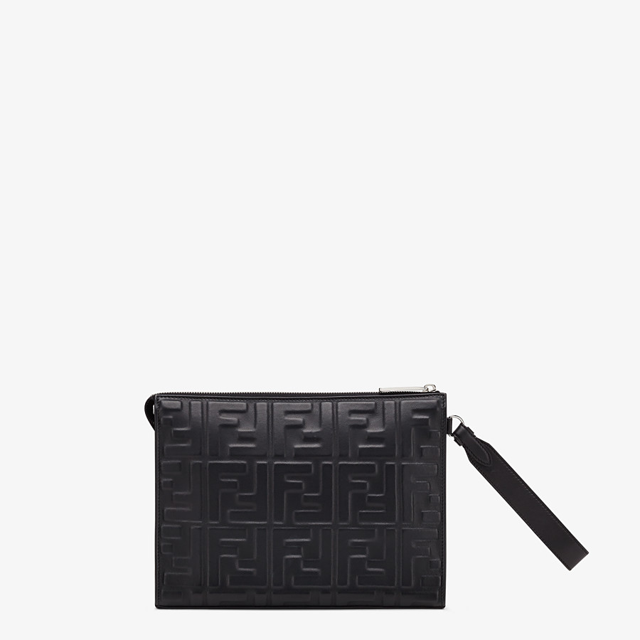 FENDI FLAT POUCH - Black nappa leather pouch - view 3 detail
