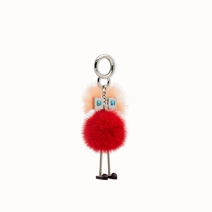 FENDI CHICK BAG CHARM - Charm in pink and red fur - view 1 detail