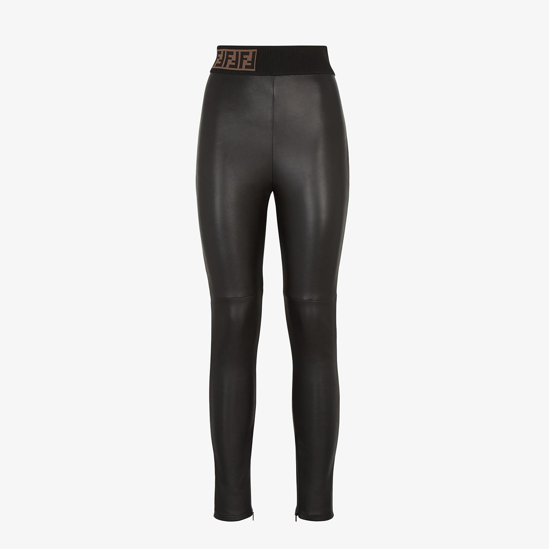 FENDI PANTS - Black leather pants - view 1 detail
