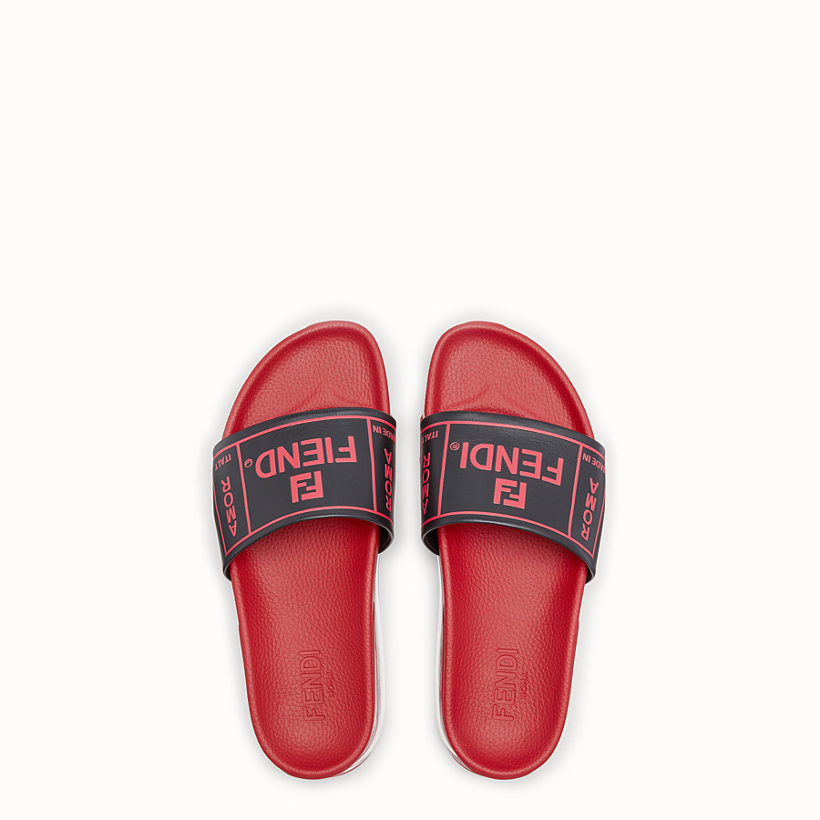 FENDI SANDALS - Red leather and PU slides - view 4 detail