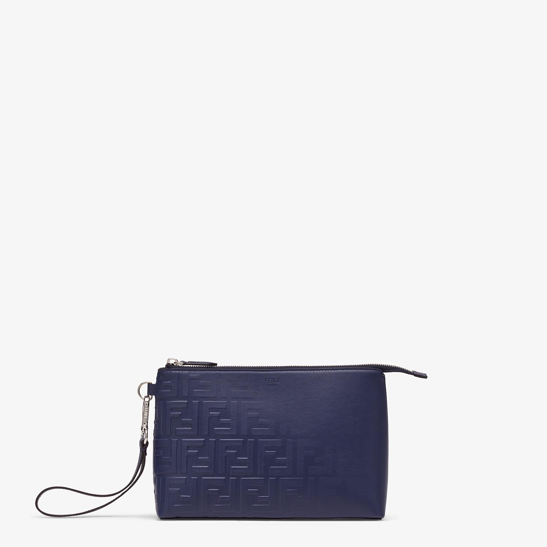 FENDI POUCH - Blue calf leather pochette - view 1 detail