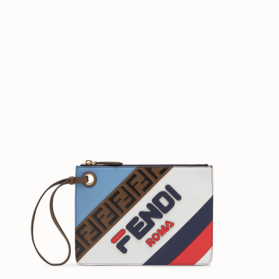 FENDI SMALL TRIPLETTE CLUTCH - Multicolour leather clutch - view 1 detail
