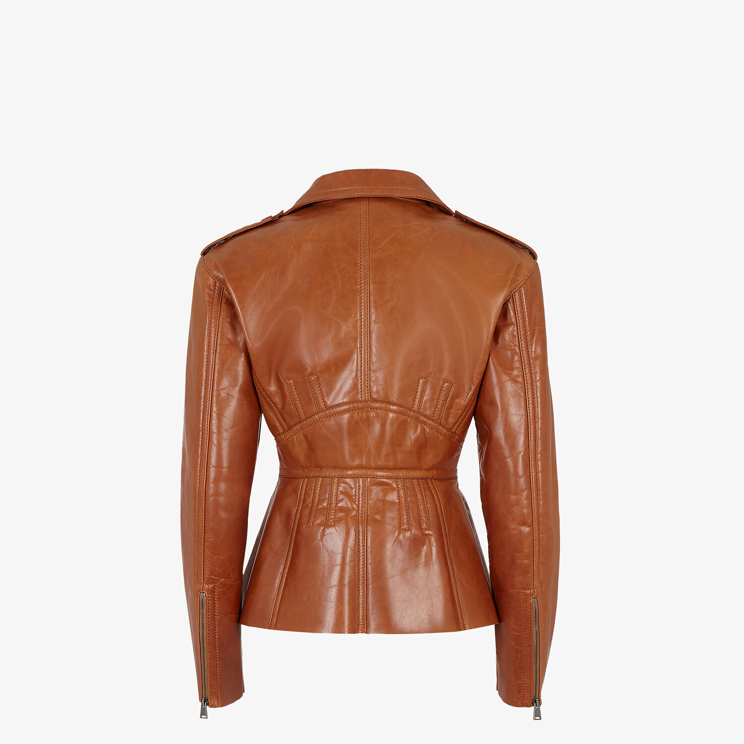 FENDI JACKET - Brown leather biker jacket - view 2 detail