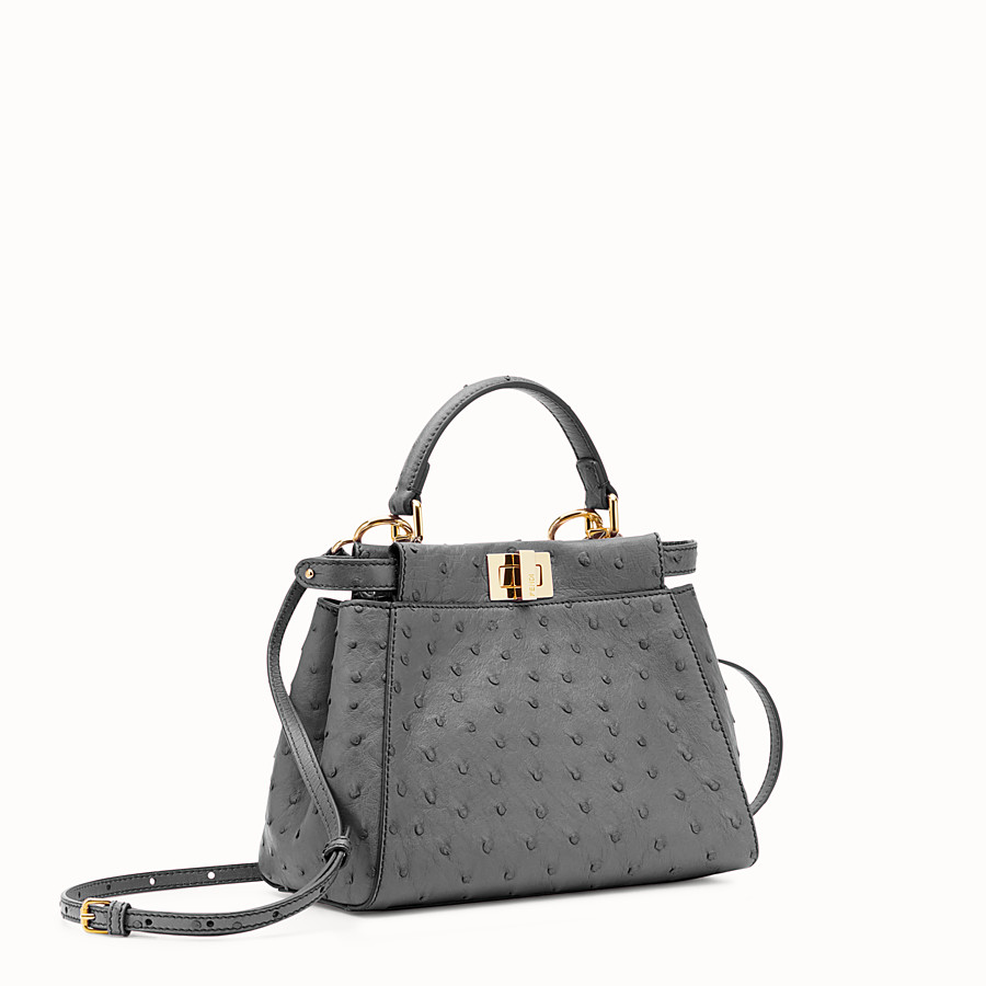 FENDI PEEKABOO MINI - Grey ostrich leather handbag. - view 2 detail