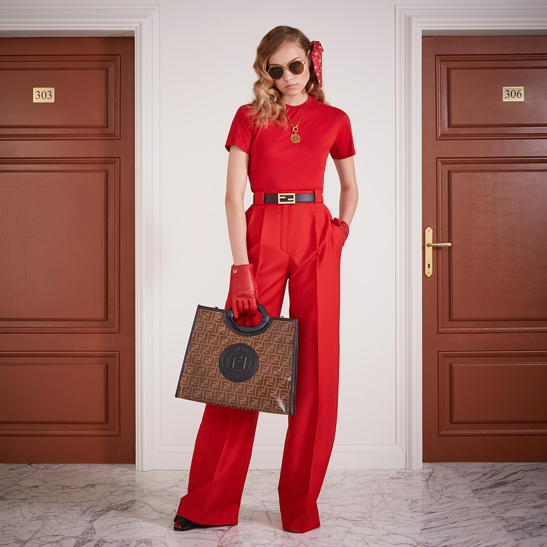 FENDI RUNAWAY SHOPPER - Shopper in brown fabric - view 2 detail