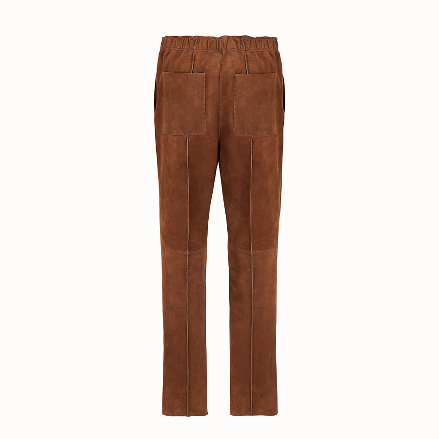 FENDI TROUSERS - Brown suede jogging trousers - view 2 detail