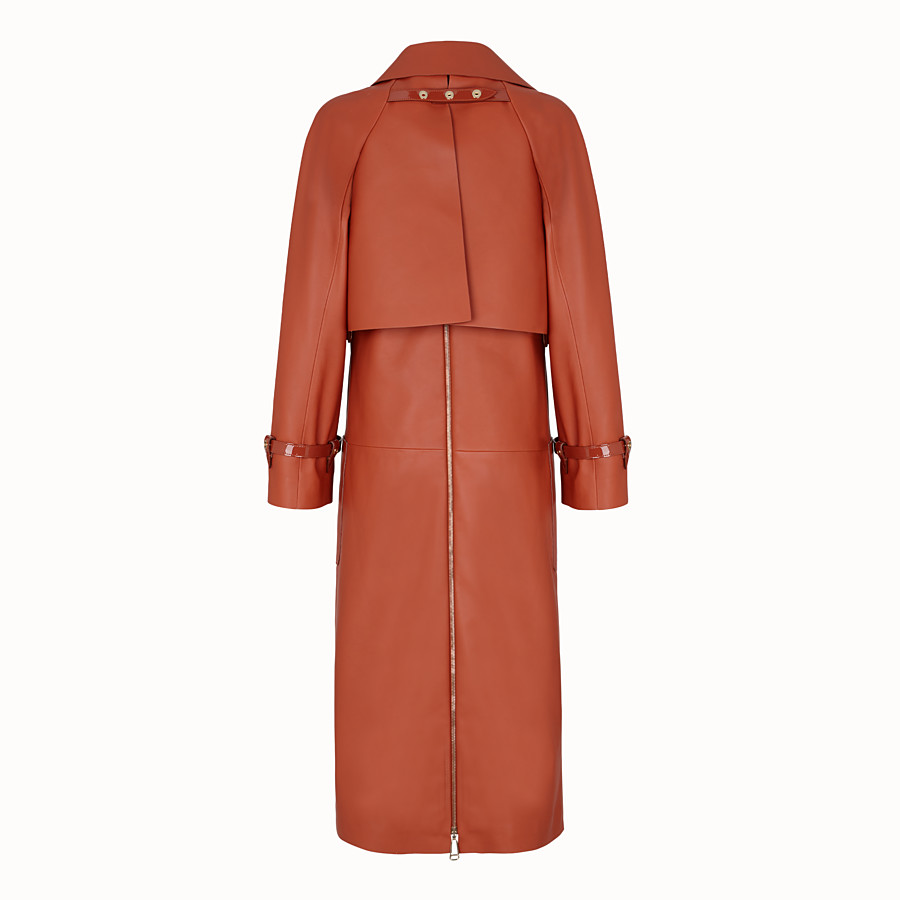 FENDI TRENCH COAT - Brown leather trench coat - view 2 detail