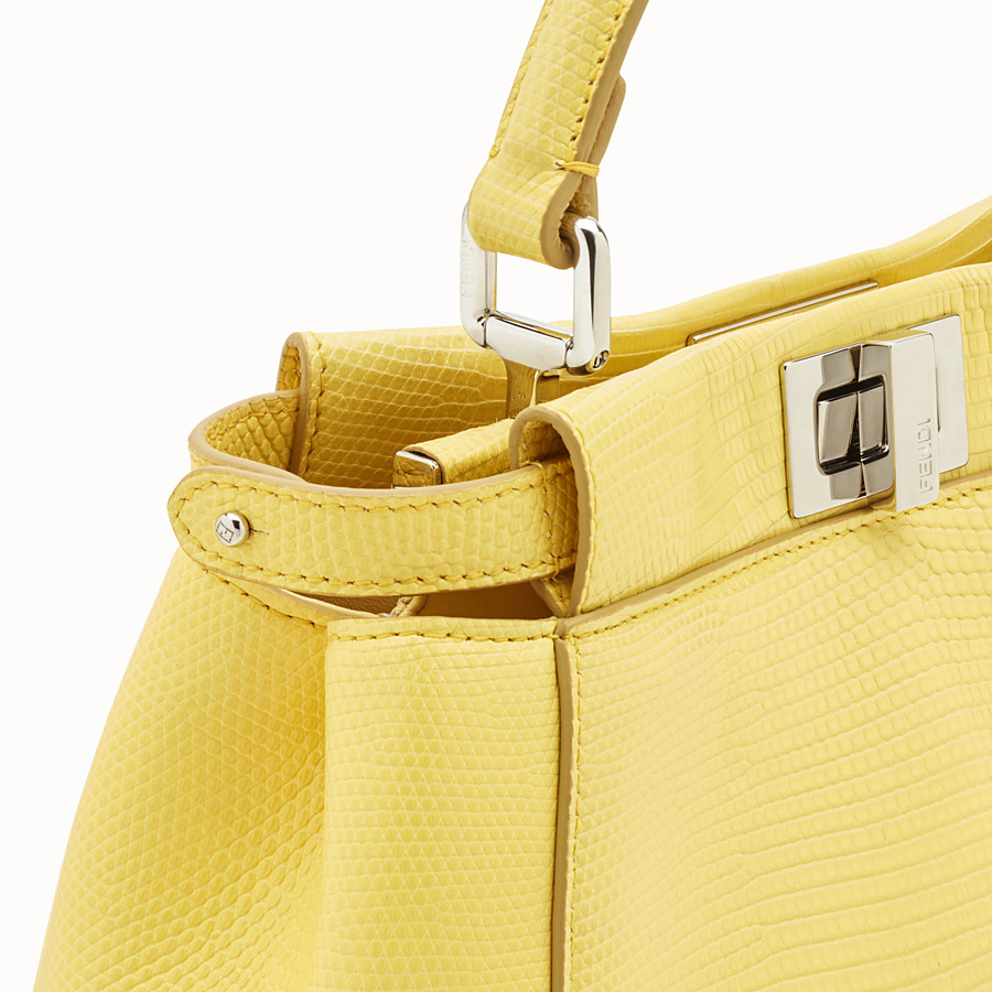 FENDI PEEKABOO ICONIC MINI - Yellow lizard bag - view 5 detail