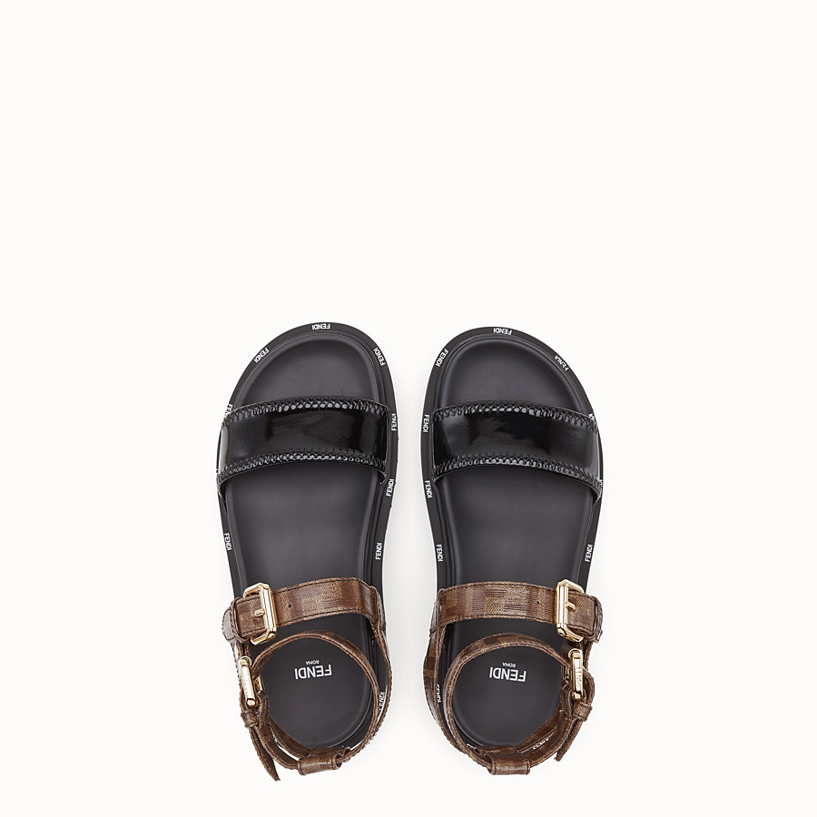 FENDI SANDALS - Sandals in glossy black neoprene - view 4 detail