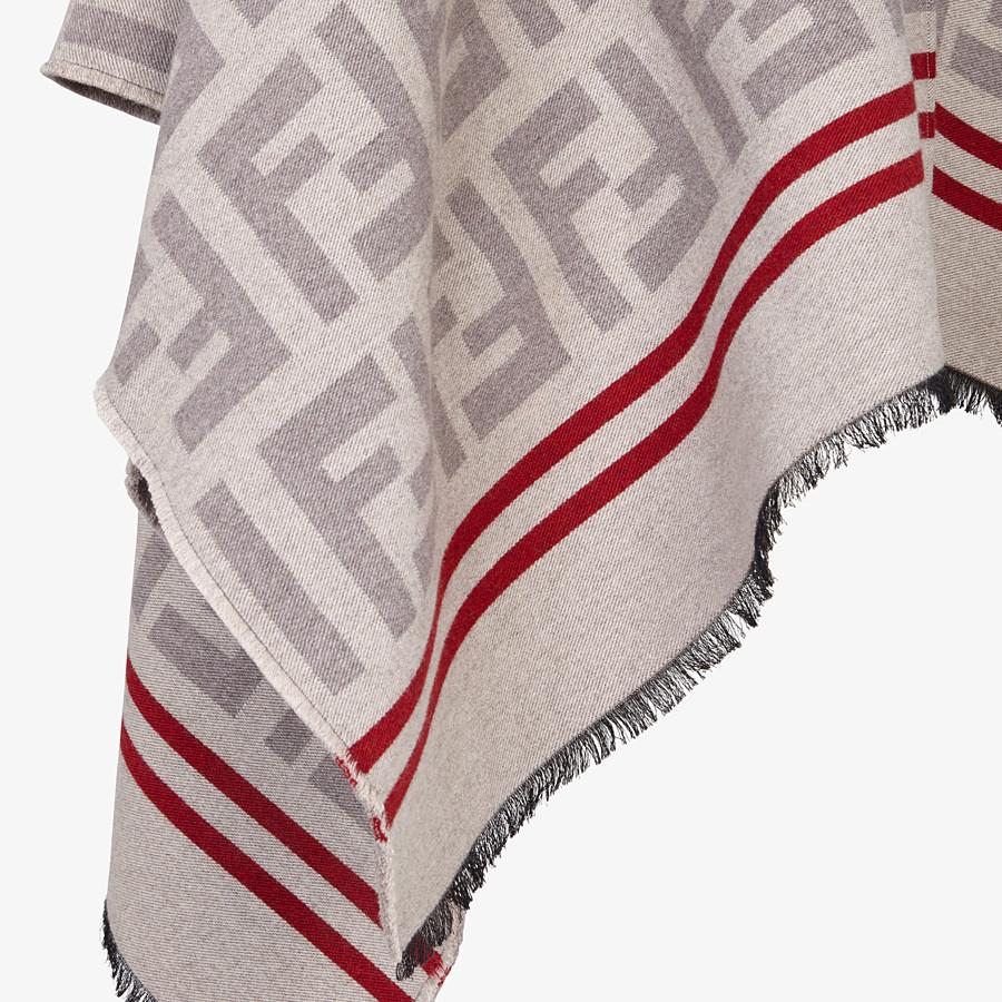 FENDI PONCHO FF - Poncho in lana e seta beige - vista 3 dettaglio